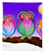 3 Little Owls In The Moonlight Fleece Blanket