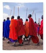 Maasai Men In Their Ritual Dance In Their Village In Tanzania Fleece Blanket
