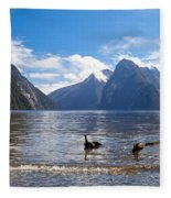 Milford Sound And Mitre Peak In Fjordland Np Nz Fleece Blanket