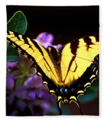 Monarch On Mountain Laurel Fleece Blanket