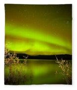 Northern Lights Mirrored On Lake Fleece Blanket