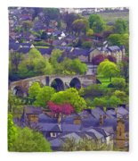 Old Stirling Bridge And Houses As Visible From Stirling Castle Fleece Blanket