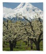 Orchard And Mount Hood, Oregon Fleece Blanket