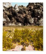 Over-under Split Shot Of Clear Water In Tidal Pool Fleece Blanket