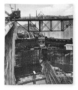Panama Canal, 1910s Fleece Blanket