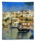 Panoramic Painting Of Mikrolimano Port Fleece Blanket