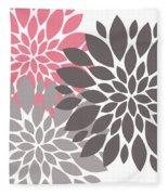 Pink Gray Peony Flowers Fleece Blanket