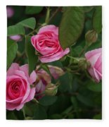 3 Pink Roses Fleece Blanket