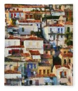 Plomari Town Fleece Blanket