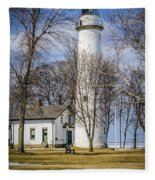 Pointe Aux Barques  Lighthouse Fleece Blanket