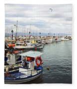 Port Of Aegina Fleece Blanket