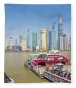 Pudong Skyline In Shanghai China Fleece Blanket