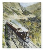 Railroad Bridge, C1870 Fleece Blanket