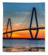 Ravenel Bridge Twilight Twinkle Fleece Blanket
