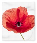 Red Poppy Flower Fleece Blanket