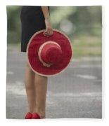 Red Sun Hat Fleece Blanket