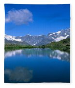 Reflection Of Mountains In Water Fleece Blanket