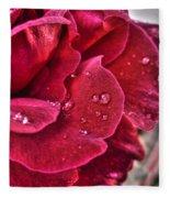 Red Rose And Summer Rain Fleece Blanket