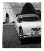 Route 66 Wigwam Motel And Classic Car Fleece Blanket