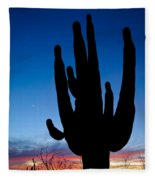 Saguaro Silhouette Fleece Blanket