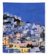 Serifos Town During Dusk Time Fleece Blanket