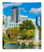 Skyline Of A Modern City - Charlotte North Carolina Usa Fleece Blanket