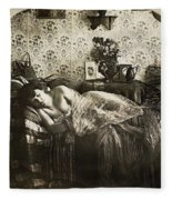 Sleeping Woman, C1900 Fleece Blanket