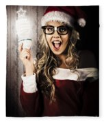 Smart Female Santa Claus With Christmas Idea Fleece Blanket