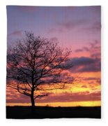 Spectacular Sunset Epsom Downs Surrey Uk Fleece Blanket