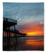 Sunset At Pismo Beach Pier Fleece Blanket
