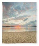 Sunset On South Bay, Lake Superior Fleece Blanket
