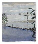 Thousand Islands Bridge Fleece Blanket