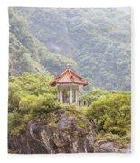 Traditional Pavillion Atop Cliff Fleece Blanket