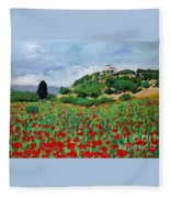 Tuscan Poppies Fleece Blanket