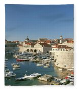 View Of Dubrovnik In Croatia Fleece Blanket