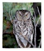 Whiskered Screech Owl Fleece Blanket