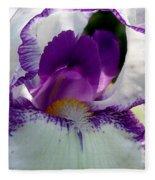 White And Purple Iris 2 Fleece Blanket