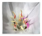 White Godetia From The Satin Mix Fleece Blanket
