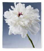 White Peony Flower Fleece Blanket