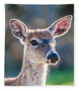 White Tail Deer Bambi In The Wild Fleece Blanket