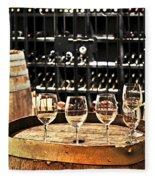 Wine Glasses And Barrels Fleece Blanket