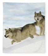 Wolves In Winter Fleece Blanket