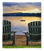 Wooden Chairs At Sunset On Beach Fleece Blanket