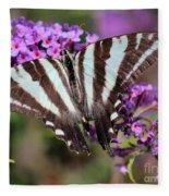 Zebra Swallowtail Butterfly At Butterfly Bush Fleece Blanket