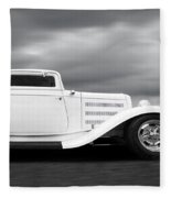 32 Ford Deuce Coupe In Black And White Fleece Blanket