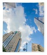 Skyline And City Streets Of Charlotte North Carolina Usa Fleece Blanket