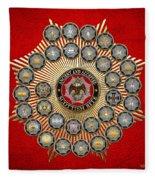 33 Scottish Rite Degrees On Red Leather Fleece Blanket