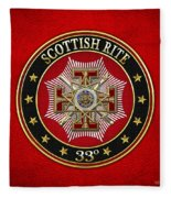33rd Degree - Inspector General Jewel On Red Leather Fleece Blanket
