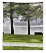 A Bench And Path On The Shore Of Loch Ness In Scotland Fleece Blanket