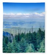 A Wide View Of The Great Smoky Mountains From The Top Of Clingma Fleece Blanket